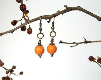Pumpkin Orange Drop Earrings - beaded earrings, dangle earrings, orange, antique gold, modern, Autumn earrings, simplicity, gift for her