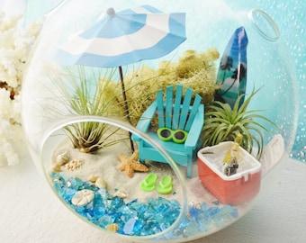 """Beach Terrarium ~ Cooler ~ Beach Umbrella ~ Surfboard ~ Adirondack Chair ~ Airplants ~ 8"""" Glass Round Globe ~ Beach Decor ~ Great Gift ~ XL"""