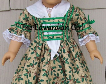 OOAK Christmas Colonial day dress. Fits 18 inch play dolls such as American Girl, Springfield. X-mas, holly, gold,  1770s dress. Made in USA