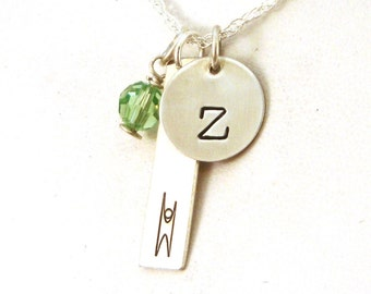 Humanist Initial Birthstone Necklace - Humanist Jewelry - Humanist Necklace - Sterling Silver Jewelry