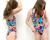 80s Geometric Print Bodysuit / One Piece Bathing Suit / Retro Neon Multi color Abstract Print 80s Playsuit / Unitard Swimsuit Bikini