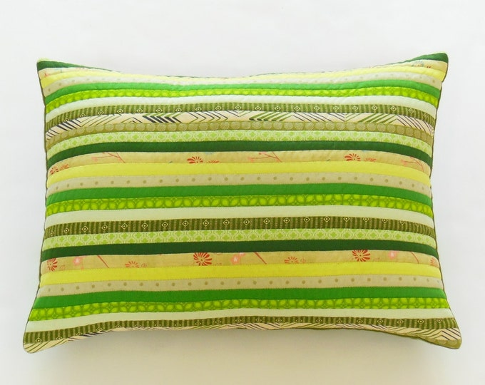 Modern Quilted Green Patchwork Pillow