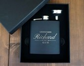 ONE GROOMSMAN FLASK Gift Set - Personalized - Flask Set with Funnel - 6oz Stainless Steel  - Free Engraving