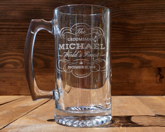 Five Beer Mugs for Groom's Men Party Set of Five Custom Engraved Beer Mugs