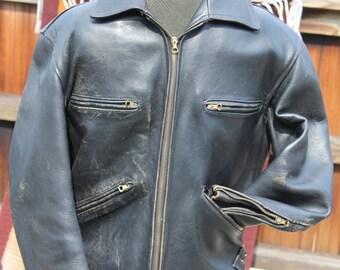 Vtg. Black Leather Womens Motorcycle / Cafe Racer Jacket size small -  medium