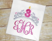 Embroidered Birthday Princess crown tiara monogrammed tee shirt - you choose number and colors!