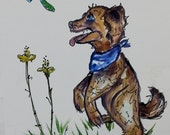 Curious Canine  Long-Sleeve Tshirt Handpainted for kids