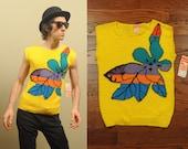 vintage 80s sweater vest bright yellow rainbow flower abstract design 1980 NOS deadstock Claude medium M