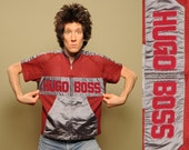 vintage 90s Hugo Boss jersey custom Boss warm up short sleeve mesh burgundy silver 1990 street style hip hop Lexington KY M L