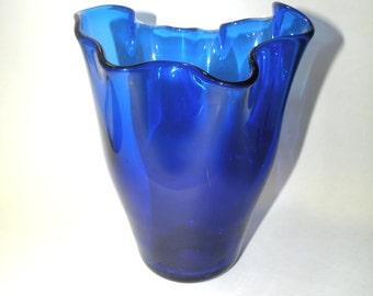 Cobalt Blue Vase- Folded Glass Made in Portugal- Royal Blue Table Floral Vase