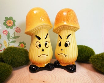 Anthropomorphic Mad Mushroom Vintage Salt and Pepper Shakers, 1960's, kitschy cute collectible
