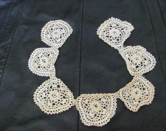 Collar - Lovely Antique Handmade Crocheted Irish Lace Collar - #25A