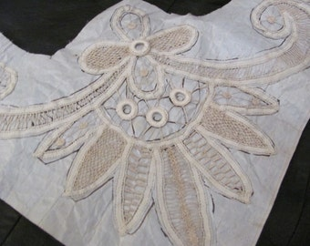 Lovely Antique Handmade Lace Collar Sewn on Pattern Paper - #24A