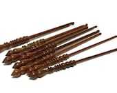 8pc set of Brittany Crochet Hooks, turned birch wood, made in USA, with handmade travel pouch, various sizes