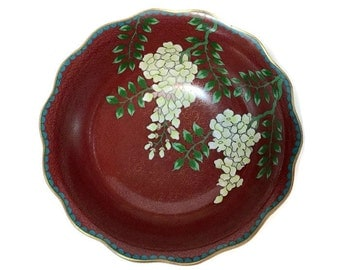 Vintage Chinese cloisonne footed bowl, Wisteria flowers floral decoration on deep pigeon blood red ground, ruffled rim