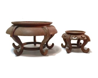 Pair of Vintage Chinese Rosewood Fishbowl or Plant Stands, c1960