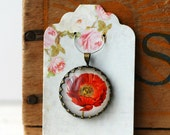 """Red Poppy Vintage Inspired Brass and Glass Bubble Necklace (#57) - """"Rozie Series"""""""