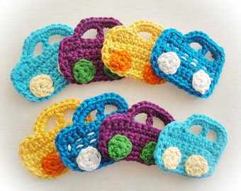 Set of 8 Crochet Cars Appliques Mix