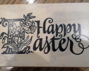 Psx Happy Easter G-1281 Words Writing Card Making  Wooden Rubber Stamp