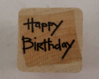 Happy Birthday Writing Words   Wooden Rubber Stamp