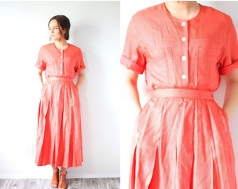 20% OFF BIRTHDAY SALE Vintage retro red striped two piece dress // 1960's dress // modest candy striper dress // nautical dress // Xs dress