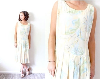 20% OFF BIRTHDAY SALE Vintage Boho // Yellow pastel floral summer dress // floral dress // flapper style dress // light yellow floral // for