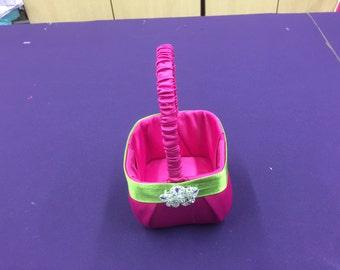 Hot Pink with Lime Greem Flower Girl Basket