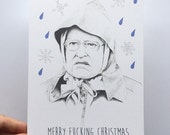 Merry fucking christmas illustrated queen card