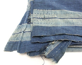 Antique Japanese Boro. Hand Woven Cotton Fabric. Hand Stitched and Patched Textile. Natural Indigo Striped Ikat.  (Ref: 1326)