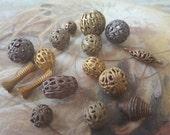 16 pc. Lot of Vintage Unusual Old Brass Art Deco Filigree Beads