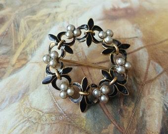 Victorian 14K GOLD Enamel Seed Pearls Fleur De Lis Brooch
