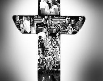 Memorial Cross,  Photo Collage, Christian Cross Photo Collage,  Photo Gift for Memorial