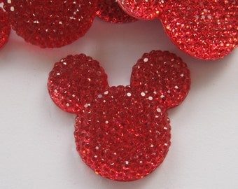 Red Glitter Mouse Ears Cabochons Embellishment Lot of 2