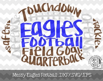 Messy Eagles Football design INSTANT DOWNLOAD in dxf/svg/eps for use with programs such as Silhouette Studio and Cricut Design Space