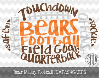 Messy Bears Football design INSTANT DOWNLOAD in dxf/svg/eps for use with programs such as Silhouette Studio and Cricut Design Space