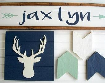 Woodland Nursery set . Tribal Nursery . Large Name Sign . Custom Baby Name Sign . Antler . Arrows . Name Sign .  Rustic Nursery set . Boho