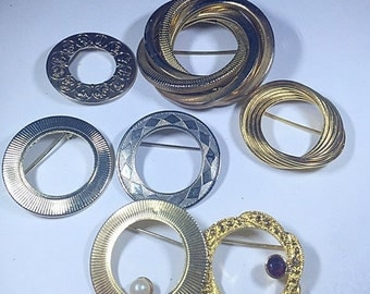 MOVING SALE Half Off Destash Craft Lot of Vintage and Salvaged Gold Tone Metal Circle Brooches  for Steampunk and Assemblage Designs