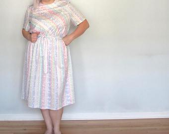 Pastille Pinstripe -Plus size Dress- Vintage- valentine -sweetheart- xxxl