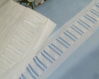 Swiss Embroidered White Eyelet Beading