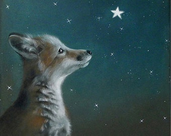 Fox art fox print fox decor fox painting fox art print fox illustration fox love fox wall art dreamy fox art