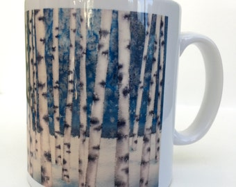 Blue  Birches 10oz ceramic mug