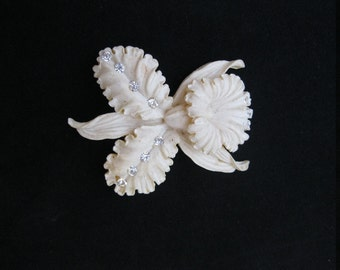 Vintage Celluloid and Rhinestone Carved Flower Brooch