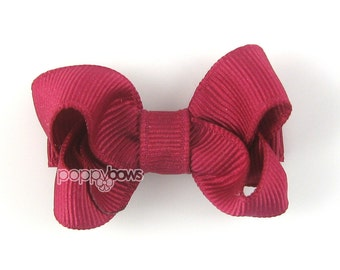 "Fuchsia hair bow, 2 inch hair bow, 2"" bows, 2 inch hair bow, small hair bows, baby hair bows, toddler hair bows, non slip dark pink hair bow"