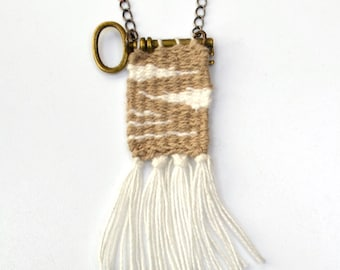 Loom Woven Pendant Necklace Handwoven Pendant Key Textile Jewelry Brown White