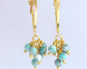 Turquoise  Gemstone Berries  Hoop Earrings Dangle Gold Plated Cluster Earring