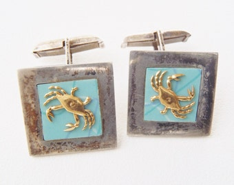 Mexico Cuff Links Sterling w/ Gold Tone Crabs on Sky Blue Squares Silver CuffLinks Vintage Cancer Zodiac Sign 1940s Guadalajara Signed JL