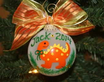 Christmas Orange Dinosaur Personalized Ornament - Made to Order