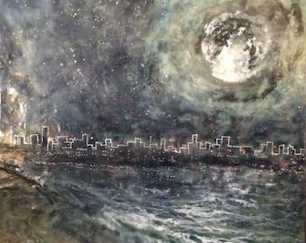 Original Encaustic art Beeswax Painting - City Night Lights- 24x24 wax art by L. Merriman - St. Louis Wax Works