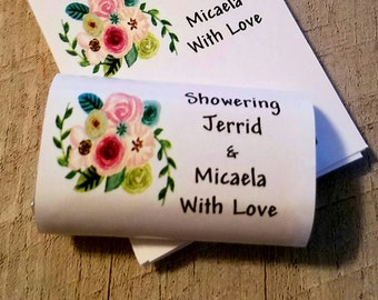 Rustic Floral Bunch Candy Wrappers for Baby Shower or Bridal Shower, Birthday Candy Bar Wrappers Favors cheap inexpensive keepsakes