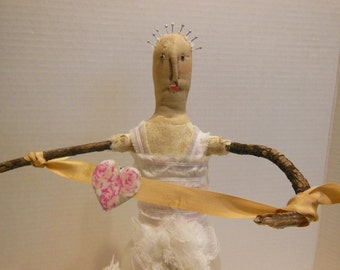 mixed media doll, assemblage sculpture, Bride doll, found object twig doll, outsider artist, heart, Love